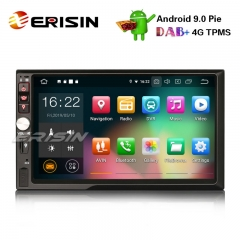 "Erisin ES7941U-64 7"" HD Double Din Android 9.0 Car Stereo GPS Satnav WiFi TPMS DAB+DVR DTV-IN OBD2"